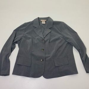 Women's Plus Size 1X Solid Gray Blazer Top